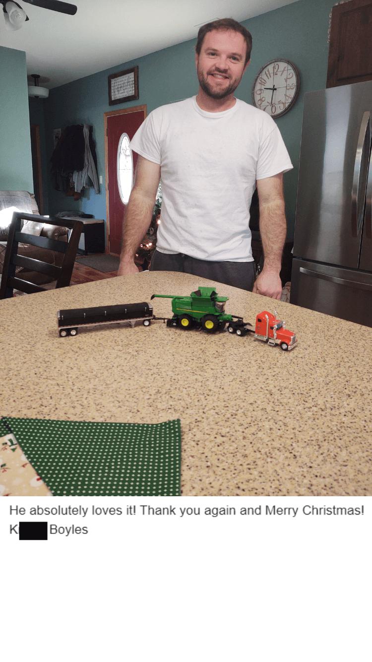 He absolutely loves the custom diecast keepsake.