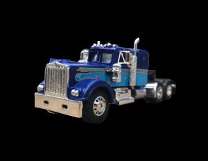 custom blue on blue diecast semi truck